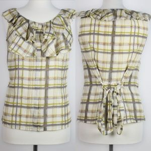 J.CREW Womens Plaid Ruffle Neck Blouse Top 6